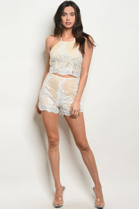 Womens Lace Top & Short Set