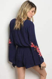 Navy With Flowers Print Romper