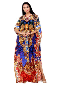 Royal Queen Cover Up Ladies Classic Silk Kaftan Night Party Gown With Attractive Baroque Print in V-Neck