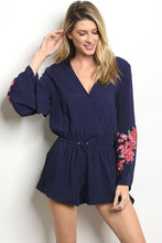 Load image into Gallery viewer, Navy With Flowers Print Romper