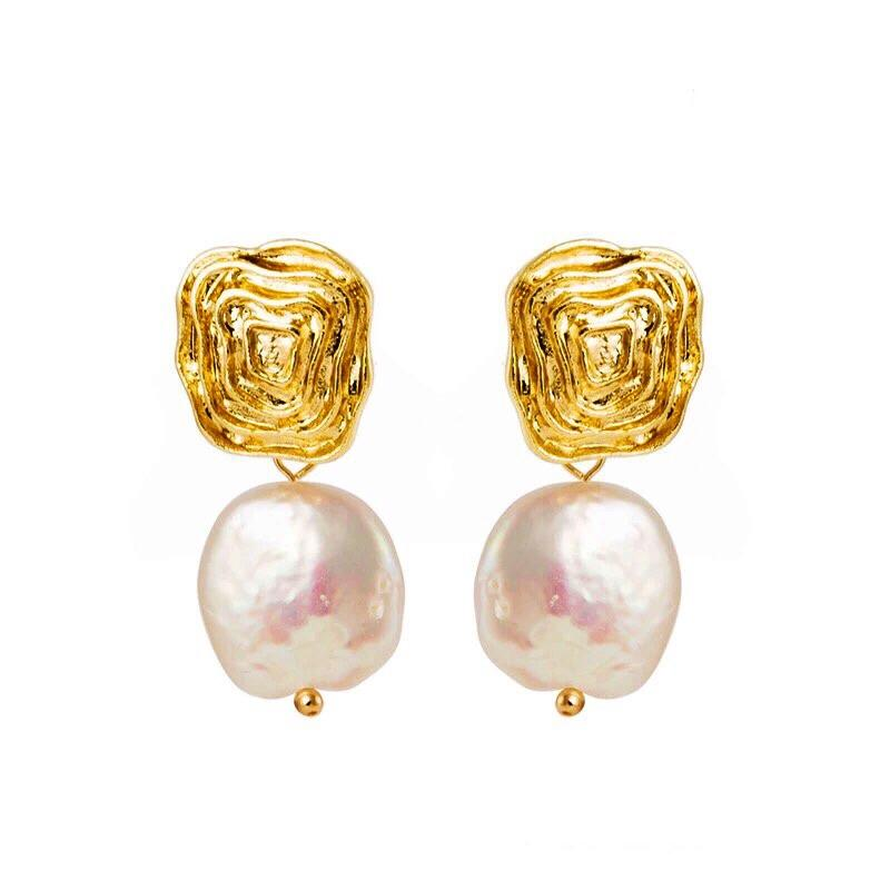 Divine Baroque Pearl 14k Earrings