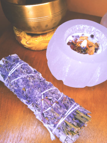 Selenite Crystal Candle Holder (Tea Light Candles Included)