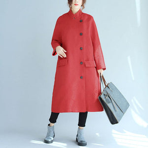 Stand Collar Oblique Breasted Women Jacquard Red Windbreaker Coat - Buykud