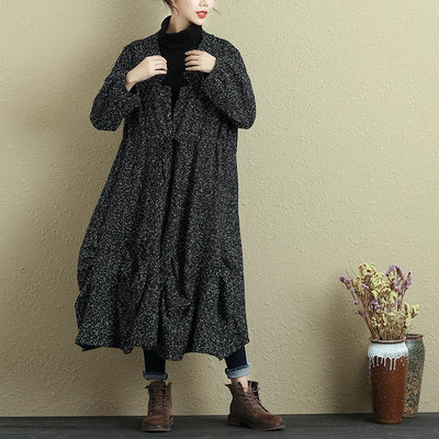Women Spring Autumn Lacing Long Sleeve Pleated Casual Coat - Buykud