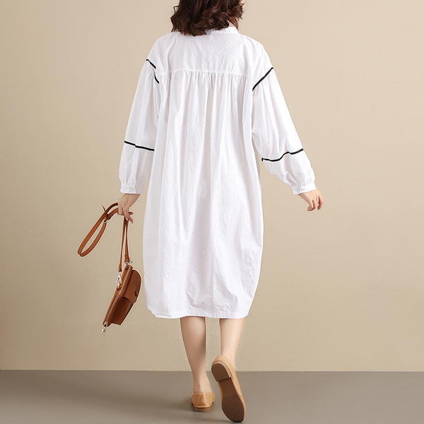 Chic Splicing Round Neck Pleated Long Sleeves Loose Women White Dress - Buykud