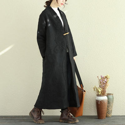 Chic Women Autumn Winter V Neck Long Sleeve With Pin Coat - Buykud