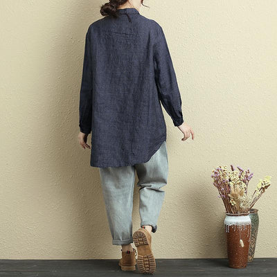 Autumn Retro Embroidered Long Sleeve Dark Blue Shirt For Women - Buykud