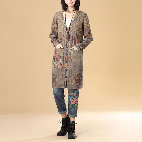 Printing Women Single Breasted Long Sleeve Jacquard Sweater Dress - Buykud