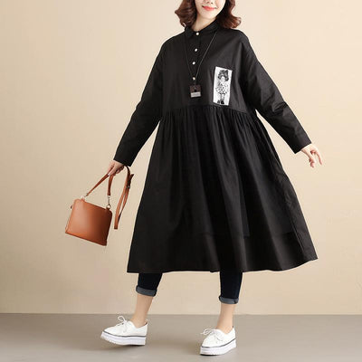 Fashionable Design Chic Applique Long Sleeves Women Black Dress - Buykud
