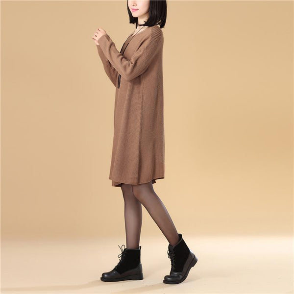 Autumn Women Round Neck Long Sleeve Knee Length Knitted Sweater Dress - Buykud