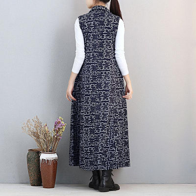 Stylish Printing Women Polo Collar Single Breasted Navy Blue Dress - Buykud