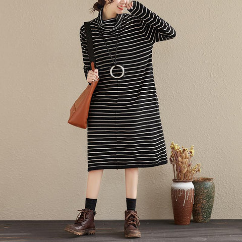 Casual Stripes Turtle Neck Long Sleeve Women Dress - Buykud