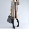 Double Pocket Autumn Elegant Women Cardigan Long Sleeves Coffee Coat - Buykud