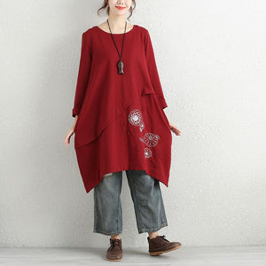 Retro Embroidery Round Neck Long Sleeves Splicing Red Women Dress - Buykud
