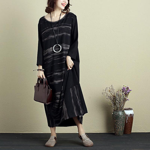 Casual Loose Women Round Neck Long Sleeve Printing Dress - Buykud