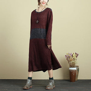 Autumn Women Round Neck Long Sleeve Splitting Sweater Dress - Buykud