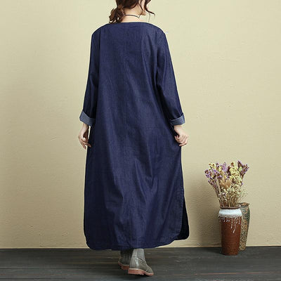 Exqusite Embroidery Splicing Women Round Neck Long Sleeve Splitting Denim Dress - Buykud