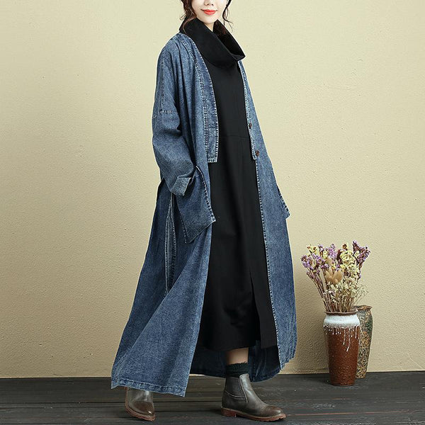 Casual Loose V Neck Double Pocket Denim Coat For Women - Buykud