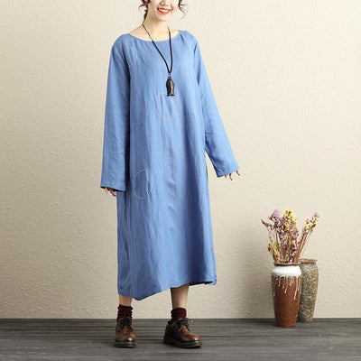 Round Neck Long Sleeves Back Button Cotton Linen Blue Women Dress - Buykud