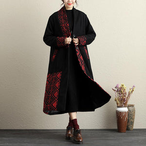 Embroidery Button-Front Long Sleeve Pockets Coat - Buykud
