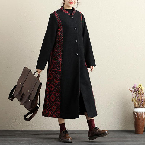 Button-Front Retro Long Sleeve Embroidery Pockets Coat - Buykud