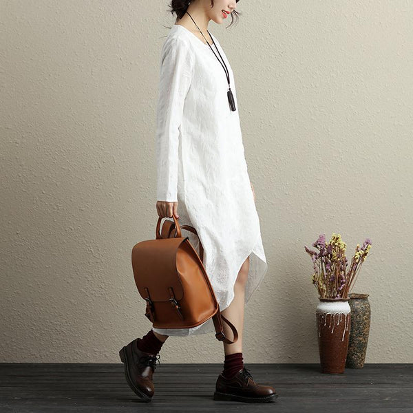 Jacquard Round Neck Long Sleeves Cotton Pure White Women Dress - Buykud