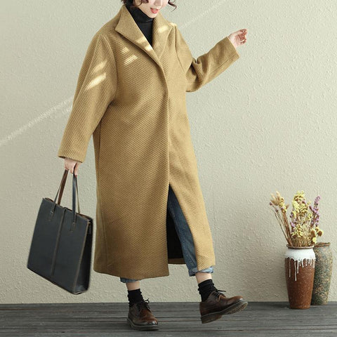 Autumn Winter Women Lapel Snap-Front Long Sleeve Yellow Long Coat - Buykud