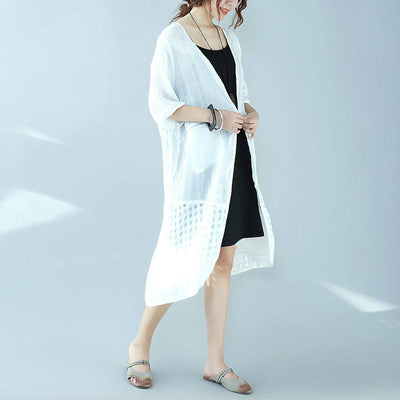 Casual Frog Slit Lattice Elbow Sleeves Women White Coat - Buykud