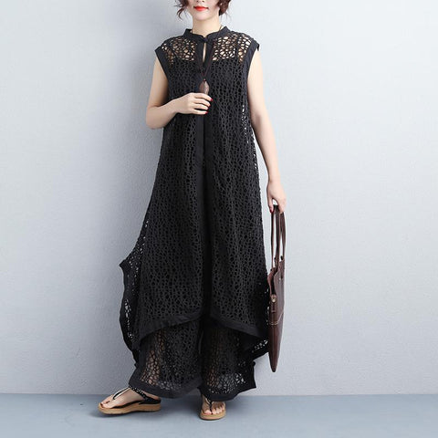 Sleeveless Stand Collar Long Thin Coat Wide Leg Pants - Buykud