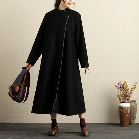 Casual Winter Stand Collar Long Sleeve Leather Trim Black Coat For Women - Buykud