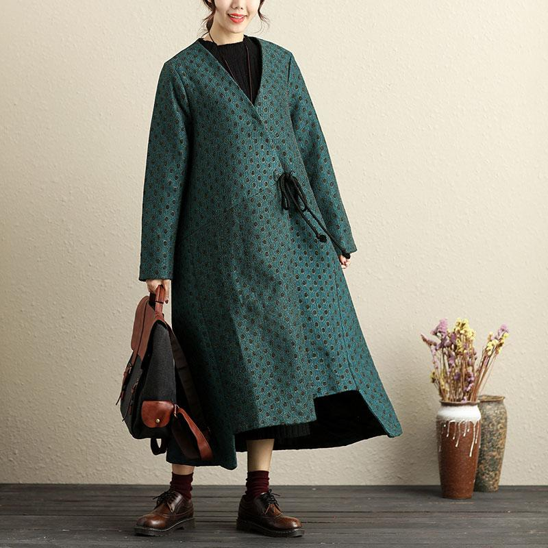 Chic Women Loose V Neck Lacing Irregular Hem Long Coat - Buykud