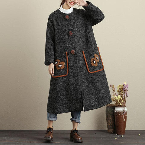 Women Single Breasted Long Sleeve Pockets Applique Coat - Buykud