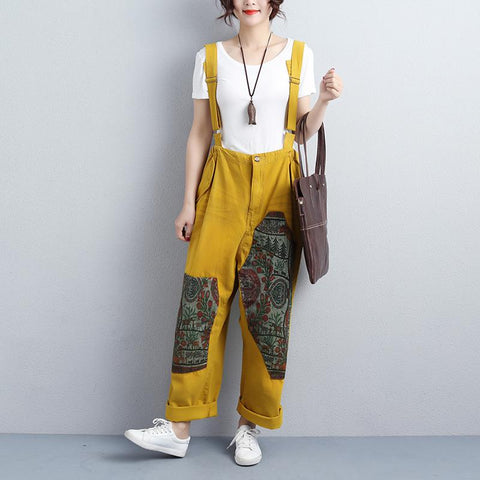Women Ankle-Length Adjustable Strap Yellow Jumpsuits - Buykud