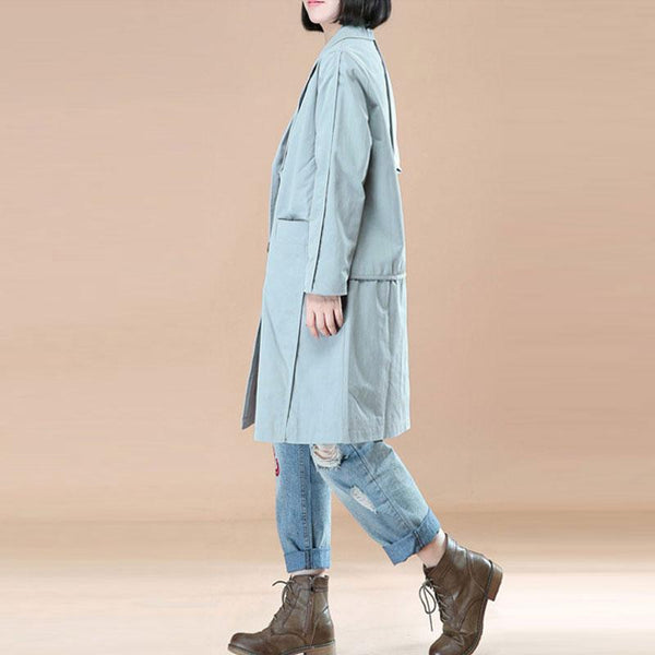 Literature Polo Collar Long Sleeves Light Blue Women Coat - Buykud