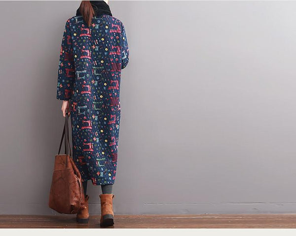 Blue Casual Loose Spring And Autumn Long Sleeve Print Dress - Buykud