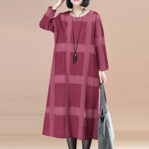 Literature Round Neck Long Sleeves Wine Red Lattice Women Dress - Buykud