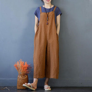 Summer Women Rompers Loose Flax Light Coffee Jumpsuits - Buykud
