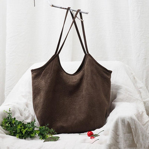 Literature Suede Fabric Women Coffee Shoulder Bag - Buykud