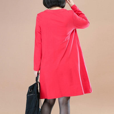 Chic Printing V Nevk Long Sleeves Literature Red Women Dress - Buykud