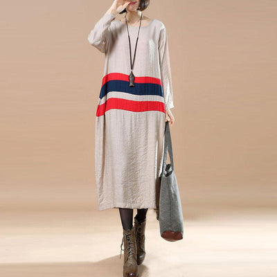 Splicing Comfortable Large Size Casual Spring Khaki Dress - Buykud