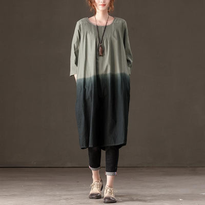 Cotton Linen Round Neck 3/4 Sleeve Women Dress - Buykud