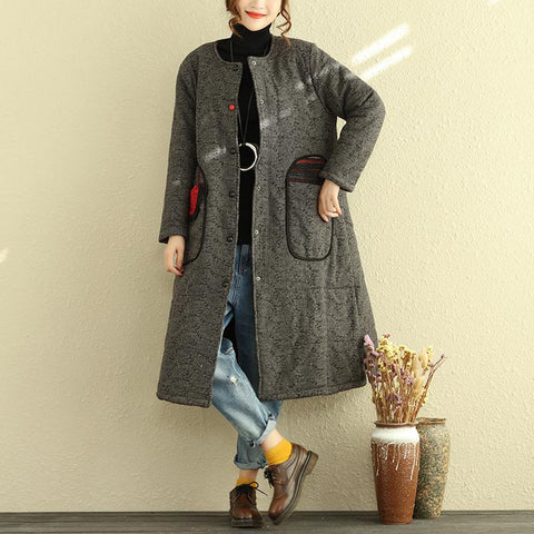 Round Neck Long Sleeve Single Breasted Women Gray Coat - Buykud
