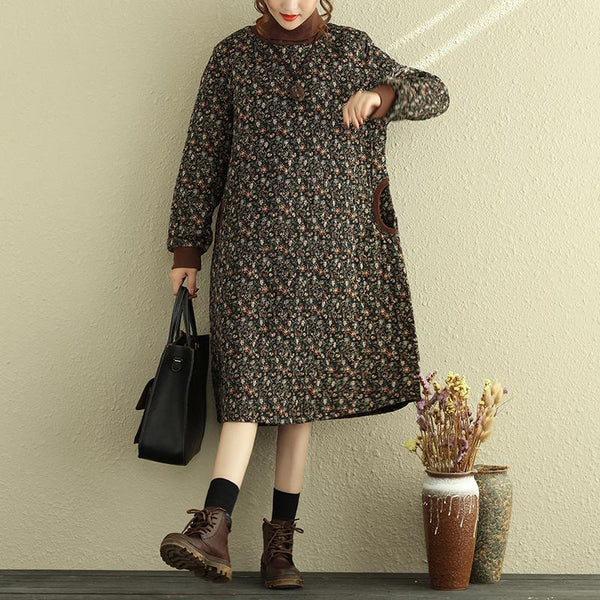 Women's Turtleneck Floral Dress Winter Loose Dresses - Buykud