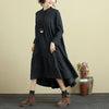 Cotton Stand Collar Long Sleeve Black Irregular Folded Dress For Women - Buykud