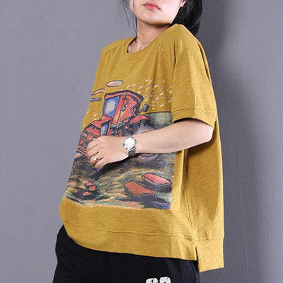 Women Short Sleeve Yellow Printed Tops - Buykud