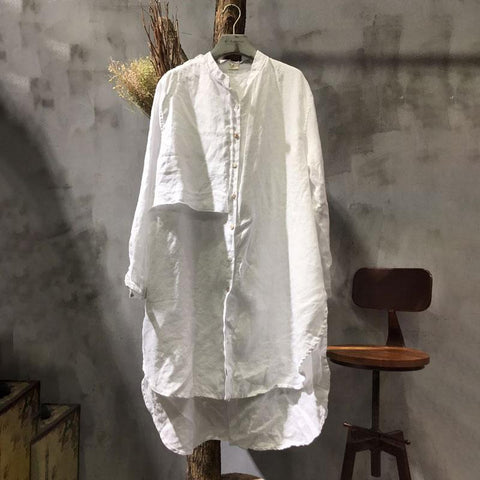 Stand Collar Long Sleeve Splicing Loose White Shirt - Buykud