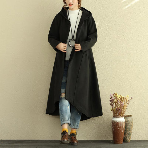 Casual Hooded Women Long Sleeve Irregular Hem Coat - Buykud