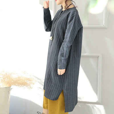 Round Neck Linen And Cotton Stripe Blue Long Shirt - Buykud