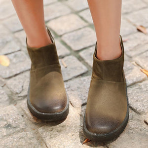Retro Fashion Cowhide Round Head Khaki Martin Boots Shoes For Women - Buykud