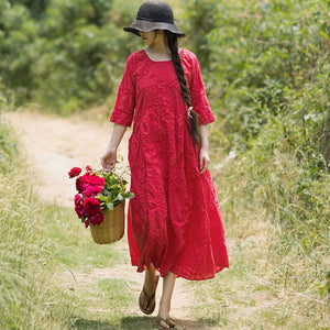 Folded Women Loose Casual Cotton Splicing Summer Red Dress - Buykud